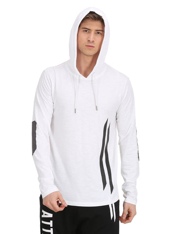 ATTIITUDE WHITE HOODED SLEEVELESS T-SHIRT