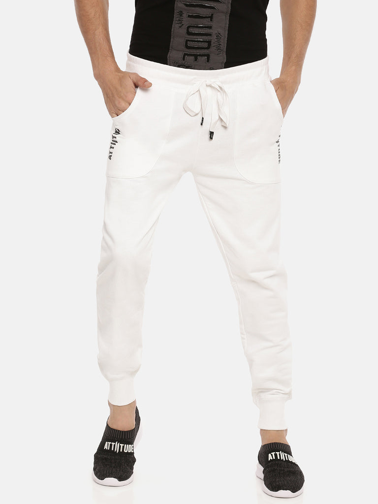 White Slim Fit Printed Jogger