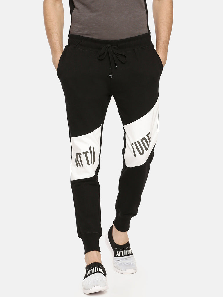 Black With White Color Block Jogger With Attiitude Logo