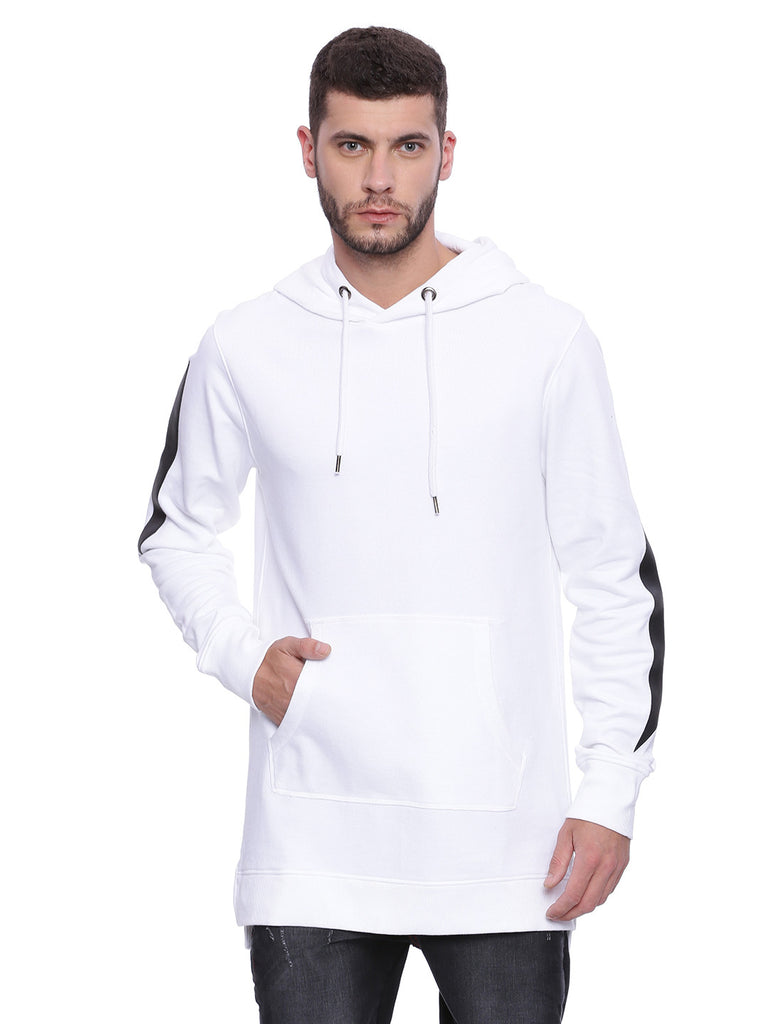 Attiitude White Long line Hoodie with Contrast panel