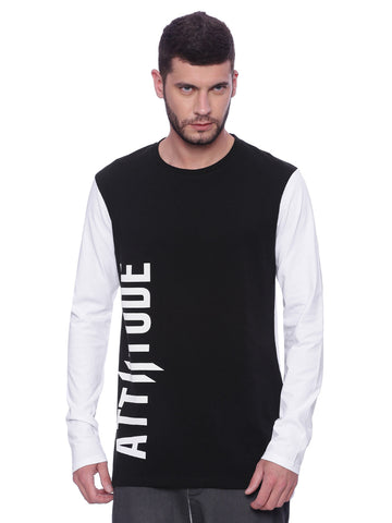 Attiitude Black and White Printed Longhem T-shirt