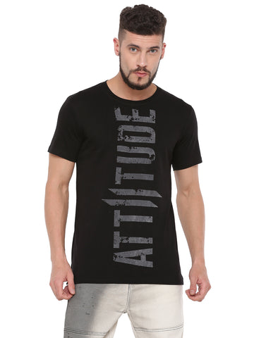 ATTIITUDE BLACK T-SHIRT WITH GRUNGE FLOCK PRINT