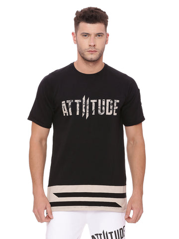Attiitude Black Asymmetrical T Shirt