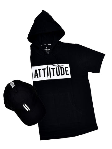 BLACK HOODED T-SHIRT WITH SPLATTER EFFECT MASK