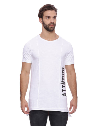 Attiitude white Raw Edge Panel T-shirt