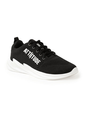 Men Black Lace-Up Sneaker Designed With Attiitude Tape