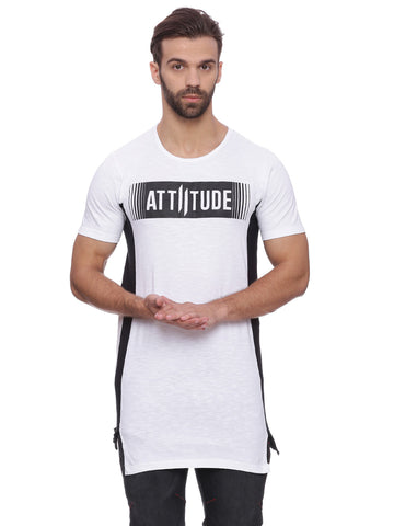 Attiitude White T Shirt With Contrast Panel