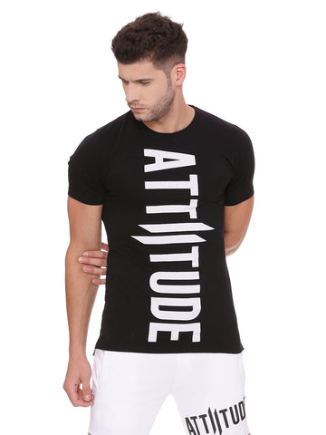 ATTIITUDE black t shirt with fabric bonding and cap sleeve