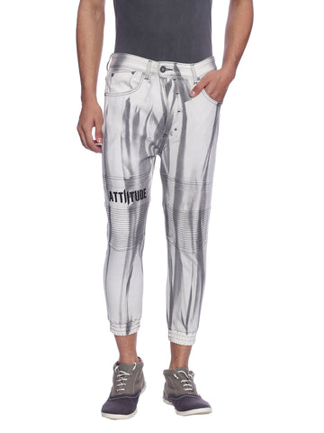 ATTIITUDE OFF-WHITE DENIM JOGGERS WITH TIE & SPRAY TREATMENT