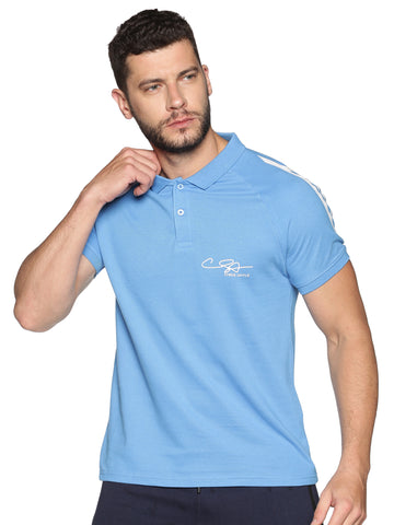 AQUA-MEN'S HALF SLEEVE POLO T-SHIRT-Light blue