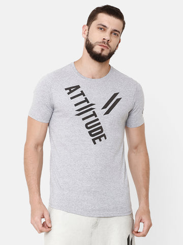 ATTIITUDE GARMENT-DYED CHARCOAL GREY T-SHIRT