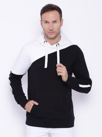 Attiitude Black Color Blocking Quilted Hoodie
