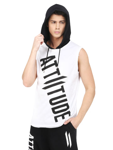 WHITE HOODED T-SHIRT WITH PUFF PRINTED LOGO.
