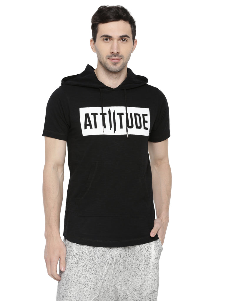 BLACK HOODED T-SHIRT WITH PUFF PRINTED LOGO.