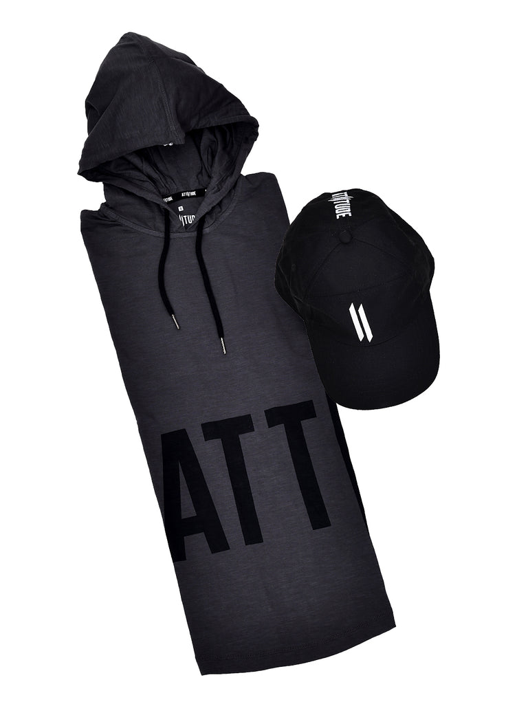 GREY HOODED T-SHIRT WITH BLACK CAP