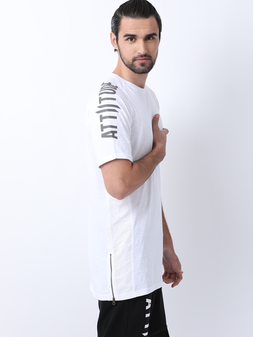Attiitude White full sleeve t shirt with Hollow HD print