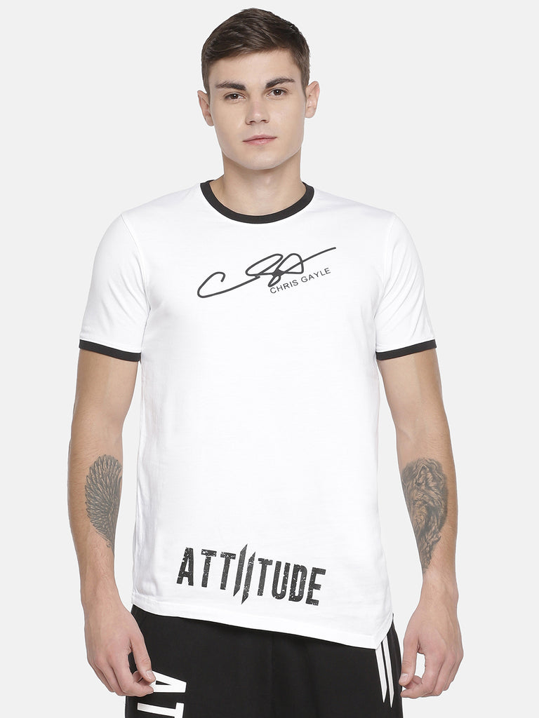CHRIS GAYLE SIGNATURE COLLECTION WHITE T-SHIRT WITH HD PRINT AND BLACK BEANIE