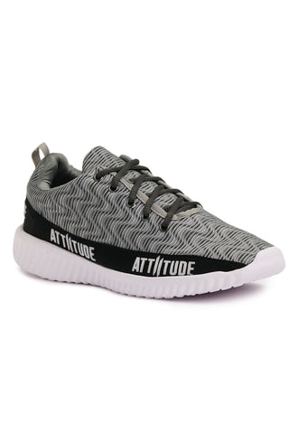 MEN GREY LACE-UP SPORTS SHOE