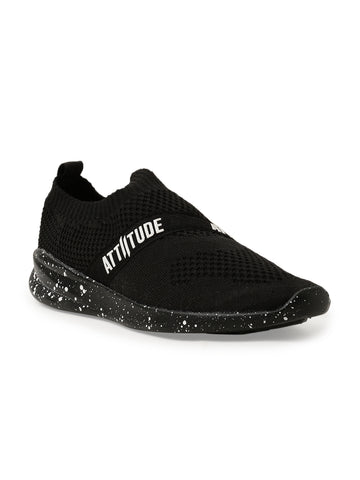 Men Black Slip-On Sneaker Styled Attiitude Tape