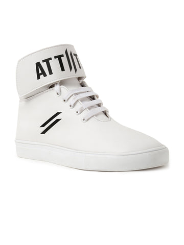 Men High Top Flat Boots Styled With Attiitude Logo On Ankle-White