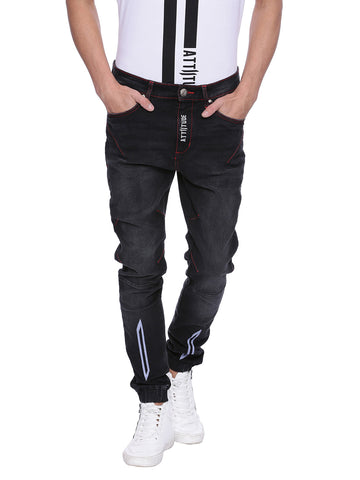 Attiitude Printed Zip-Fly Distressed Denim joggers