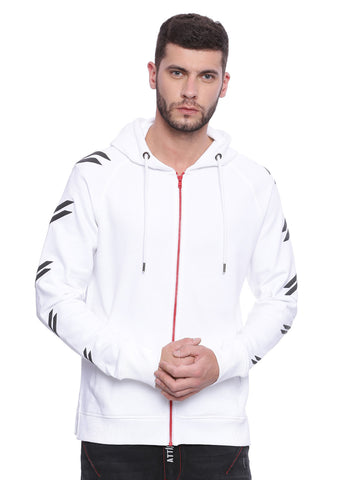 ATTIITUDE WHITE FRENCH TERRY HOODIES WITH RED ZIPPER