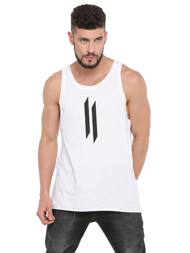 ATTIITUDE DISCHARGE PRINTED WHITE VEST