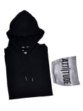 BLACK HOODED T-SHIRT WITH SPL WASH MSAK