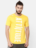 Attiitude Vertical Logo Printed T-Shirt  Yellow