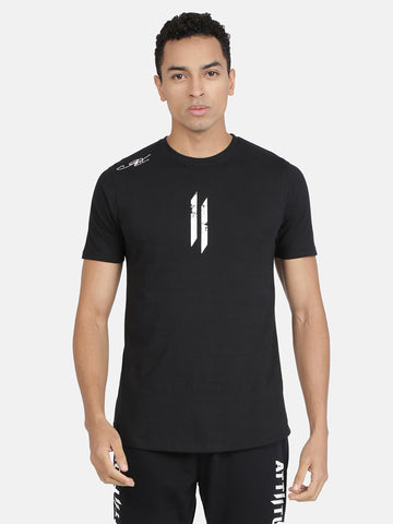 Attiitude Printed Double I Logo On Chest -Black