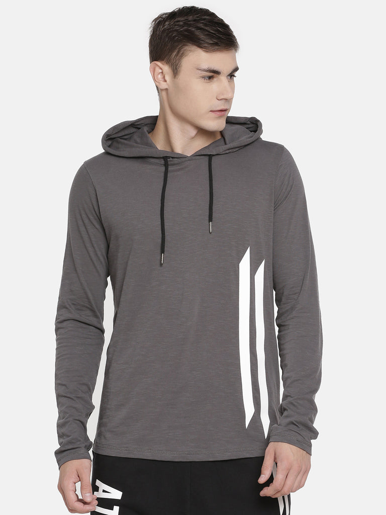 BLACK ELBOW PATCH GREY HOODED T-SHIRT