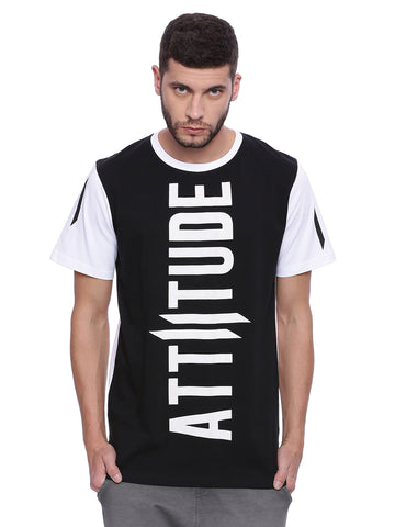 Attiitude  Printed Black & White T-shirt with White Sleeve