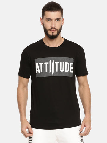 ATTIITUDE Screen Print & Black Rib White T-shirt