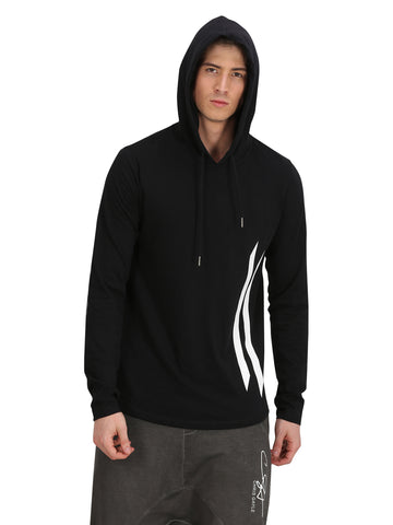 BLACK HOODED T-SHIRT WITH PRINTED LOGO ON SLEEVE