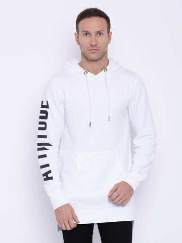 Attiitude Black Long line Hoodie with Contrast panel
