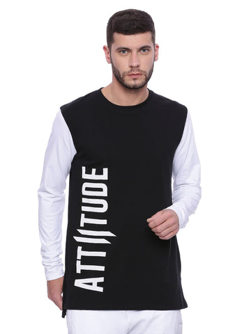 Attiitude Black Long line T-shirt
