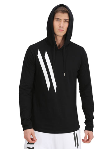 3D Logo Printed & Elbow Patch Black Hooded T-Shirt