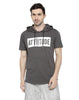 GREY HOODED T-SHIRT AND WHITE ARM SLEEVE