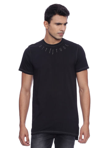 ATTIITUDE BLACK GARMENT-DYED T-SHIRT