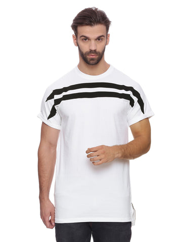 ATTIITUDE whiite t-shirt with fabric bonding and cap sleeve