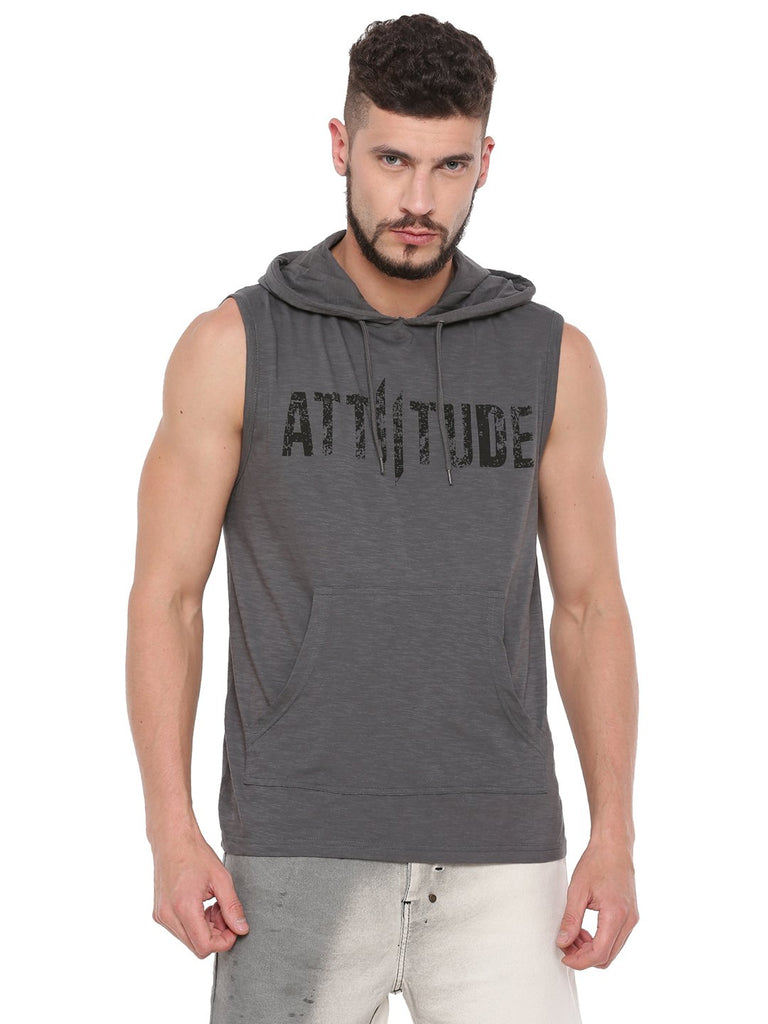 ATTIITUDE GREY SLEEVELESS HOODIE AND CAP