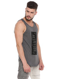 ATTIITUDE DARK GREY TANKTOP WITH RAW EDGE APPLIQUE AND CAP