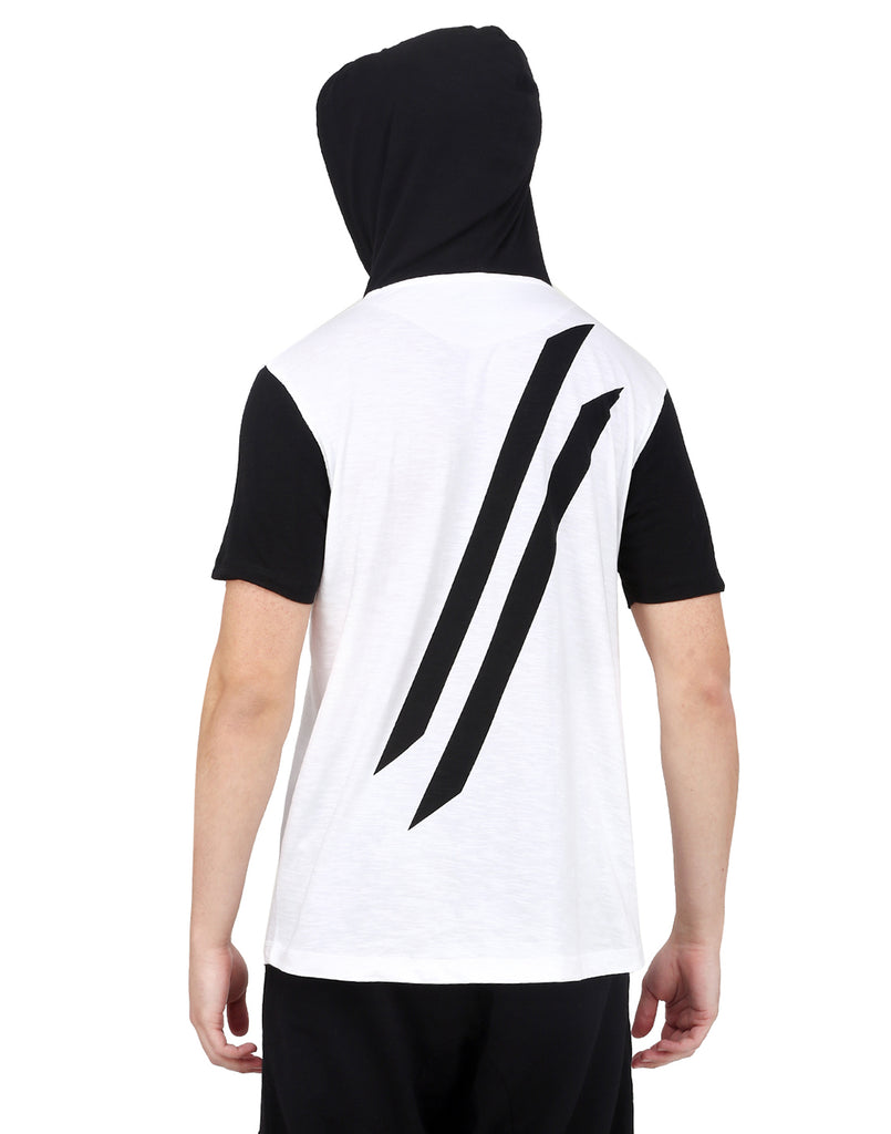 WHITE WITH BLACK HOODED T-SHIRT AND DARK-GREY BEANIE