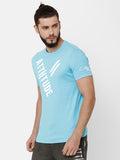 Attiitude Diagonal Printed T-Shirt  Light Blue