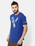 Attiitude Diagonal Printed T-Shirt  Dark Blue
