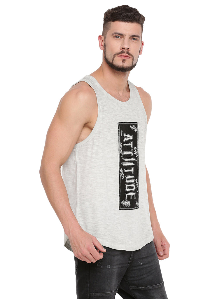 ATTIITUDE LIGHT GREY TANKTOP WITH RAW EDGE APPLIQUE