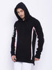 ATTIITUDE Black long line hoodies with red piping