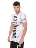 Attiitude white long hem t shirt with Tie & Die wash