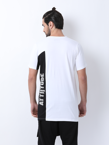 Attiitude white T shirt with Black panel