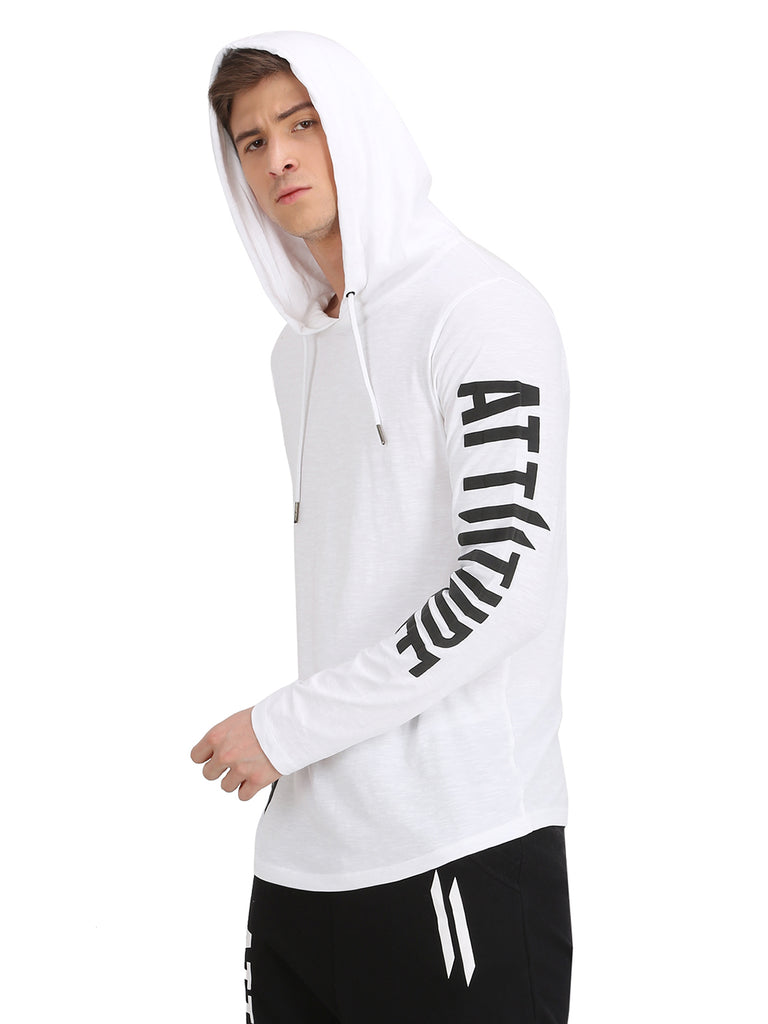 ATTIITUDE WHITE HOODED T-SHIRT WITH PRINTED LOGO ON SLEEVE